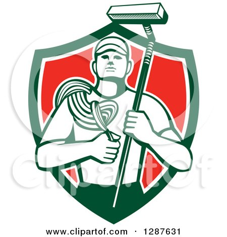 Clipart of a Retro High Rise Male Window Washer Holding a Rope and Brush in a Green White and Red Shield - Royalty Free Vector Illustration by patrimonio