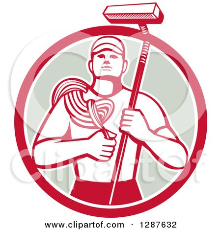 Clipart of a Retro High Rise Male Window Washer Holding a Rope and Brush in a Red White and Taupe Circle - Royalty Free Vector Illustration by patrimonio