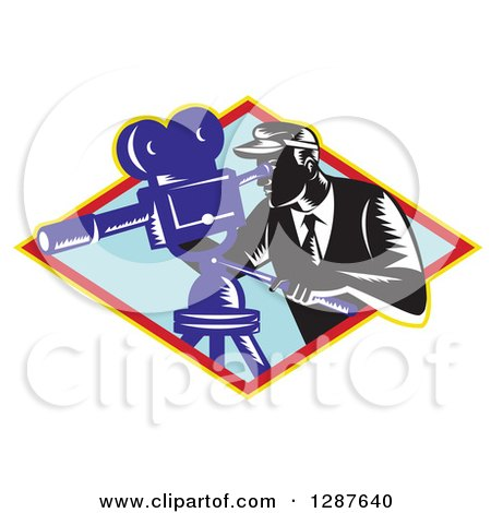 Clipart of a Retro Woodcut Male Cameraman Working in a Yellow Red and Blue Diamond - Royalty Free Vector Illustration by patrimonio
