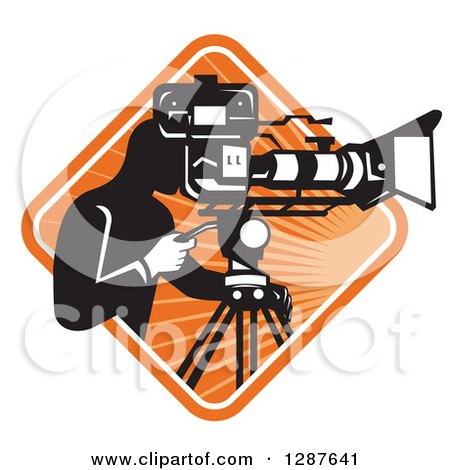 Clipart of a Retro Black and White Male Cameraman Working in a White and Orange Sunburst Diamond - Royalty Free Vector Illustration by patrimonio