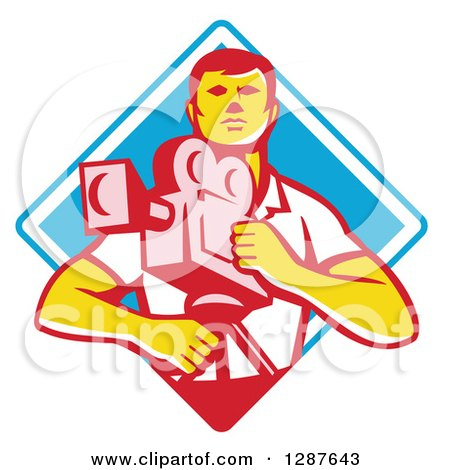 Clipart of a Retro Male Cameraman in a White and Blue Diamond - Royalty Free Vector Illustration by patrimonio