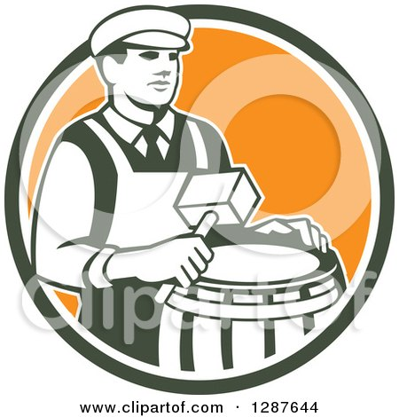 Clipart of a Retro Male Cooper Barrel Maker Holding a Mallet over a Drum in a Green White and Orange Circle - Royalty Free Vector Illustration by patrimonio