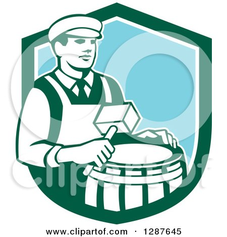 Clipart of a Retro Male Cooper Barrel Maker Holding a Mallet over a Drum in a Green White and Blue Shield - Royalty Free Vector Illustration by patrimonio