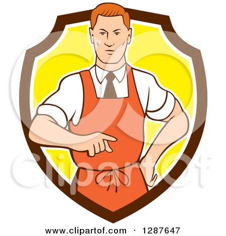 Clipart of a Retro Cartoon Red Haired White Male Chef Wearing an Apron and Pointing in a Brown White and Yellow Shield - Royalty Free Vector Illustration by patrimonio