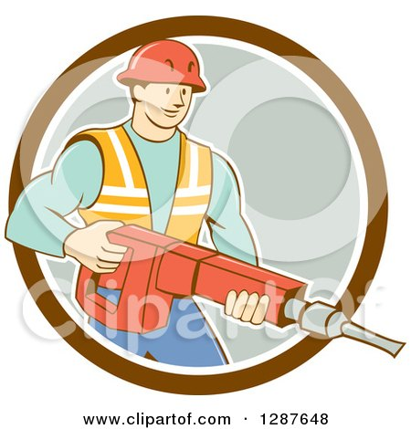 Clipart of a Retro Cartoon Caucasian Construction Worker Holding a Jackhammer Drill in a Circle - Royalty Free Vector Illustration by patrimonio