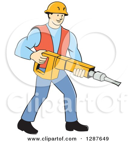 Clipart of a Retro Cartoon Caucasian Construction Worker Holding a Jackhammer Drill - Royalty Free Vector Illustration by patrimonio