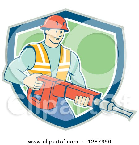 Clipart of a Retro Cartoon Caucasian Construction Worker Holding a Jackhammer Drill in a Shield - Royalty Free Vector Illustration by patrimonio