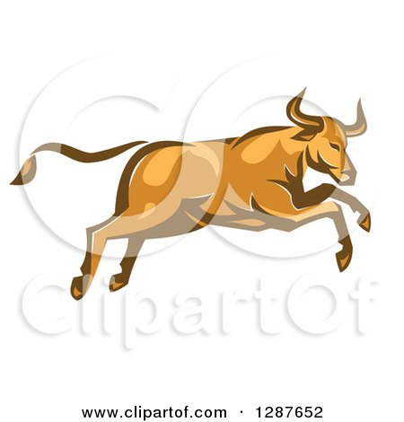Clipart of a Retro Angry Bull Attacking and Jumping - Royalty Free Vector Illustration by patrimonio