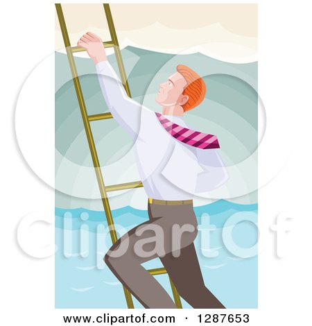 Clipart of a Retro Red Haired Caucasian Businessman Climbing a Ladder over the Ocean - Royalty Free Vector Illustration by patrimonio