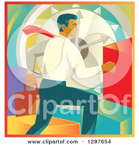 Clipart of a Retro Caucasian Businessman Running over a Clock and Colorful Graph Bars - Royalty Free Vector Illustration by patrimonio