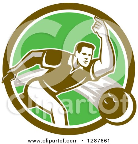 Clipart of a Retro Man Bowling in a Brown Green and White Circle - Royalty Free Vector Illustration by patrimonio