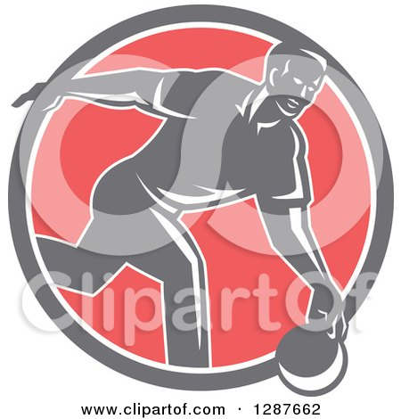 Clipart of a Retro Man Bowling in a Gray White and Pink Circle - Royalty Free Vector Illustration by patrimonio