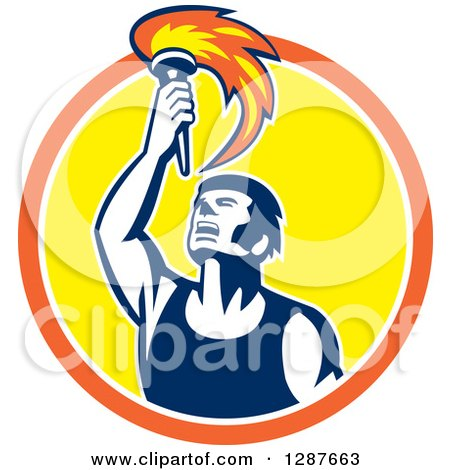 Clipart of a Retro Male Athlete Holding up a Torch in an Orange White and Yellow Circle - Royalty Free Vector Illustration by patrimonio