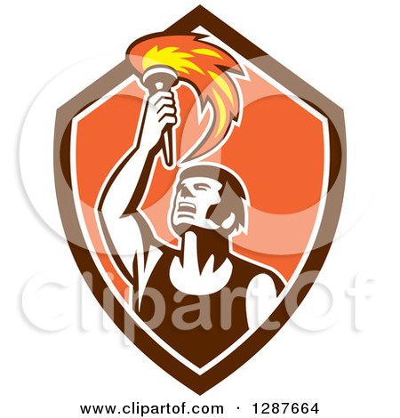 Clipart of a Retro Male Athlete Holding up a Torch in a Brown White and Orange Shield - Royalty Free Vector Illustration by patrimonio