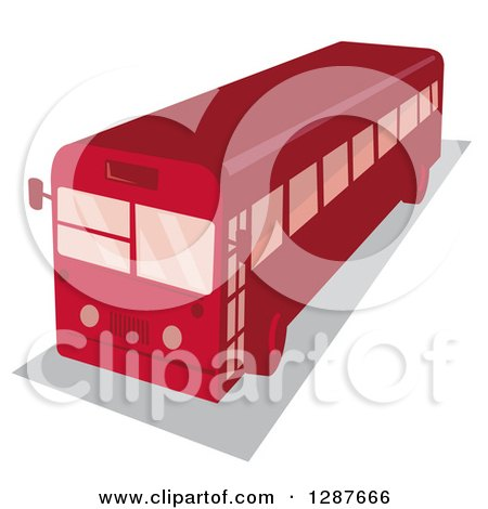 Clipart of a High Angle View of a Retro Red Shuttle Bus - Royalty Free Vector Illustration by patrimonio