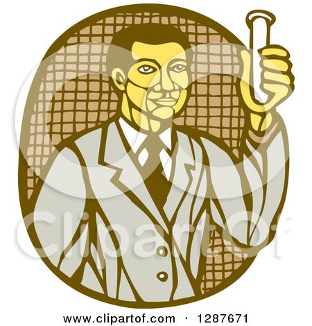 Clipart of a Retro Woodcut Asian Male Scientist Holding a Test Tube - Royalty Free Vector Illustration by patrimonio