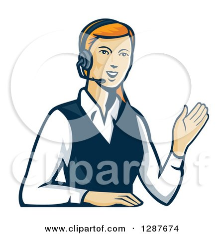 Clipart of a Retro Red Haired White Female Call Center Worker Waving and Wearing a Headset - Royalty Free Vector Illustration by patrimonio