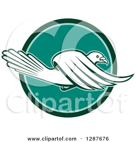 Clipart of a Retro Pigeon Flying in a Teal and Turquoise Circle - Royalty Free Vector Illustration by patrimonio