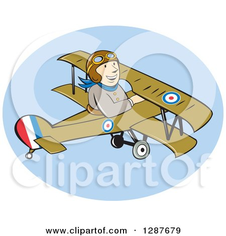 Clipart of a Cartoon Wwi Male British Airforce Pilot in a Sopwith Camel Scout Plane - Royalty Free Vector Illustration by patrimonio