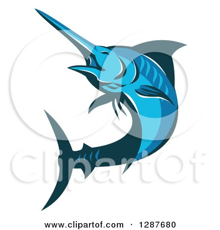 Clipart of a Retro Blue Marlin Fish Jumping and Facing Left - Royalty Free Vector Illustration by patrimonio