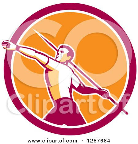 Clipart of a Retro Male Track and Field Javelin Thrower in a Pink White and Orange Circle - Royalty Free Vector Illustration by patrimonio