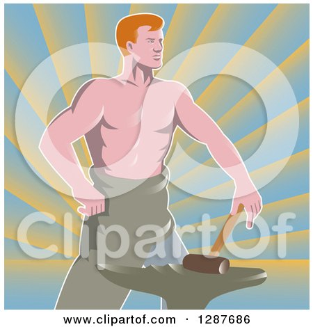 Clipart of a Retro Shirtless Muscular Blacksmith with a Hammer and Anvil over Rays - Royalty Free Vector Illustration by patrimonio