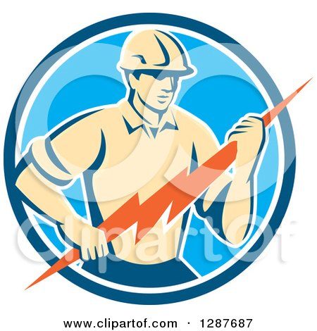 clipart of a retro working lineman and rays background or