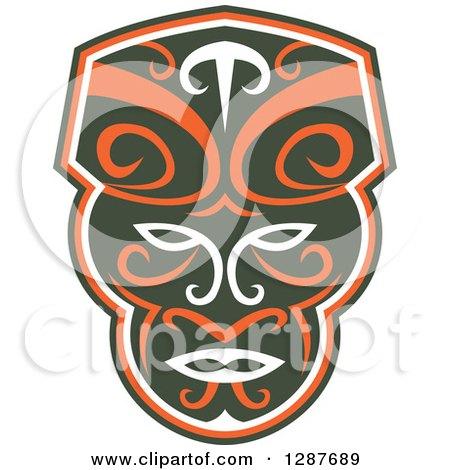 Clipart of a Retro Maori Mask in Dark Green, White and Orange - Royalty Free Vector Illustration by patrimonio