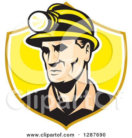 Clipart of a Retro Caucasian Male Miner with a Headlamp in a Yellow and White Shield - Royalty Free Vector Illustration by patrimonio