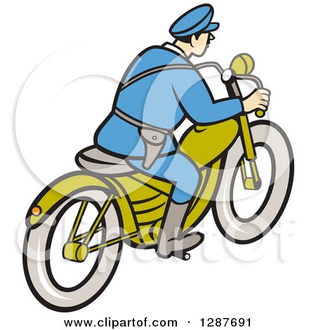 Clipart of a Rear Side View of a Cartoon Highway Patrol Police Man on a Motorcycle - Royalty Free Vector Illustration by patrimonio
