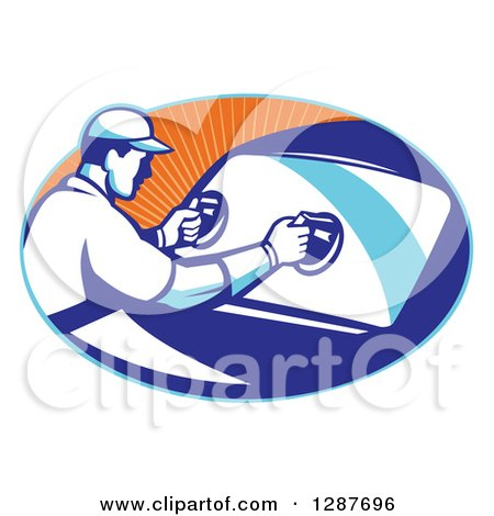 Clipart of a Retro Male Automotive Glass Installer Putting in a New Windshield in a Blue and Orange Ray Oval - Royalty Free Vector Illustration by patrimonio