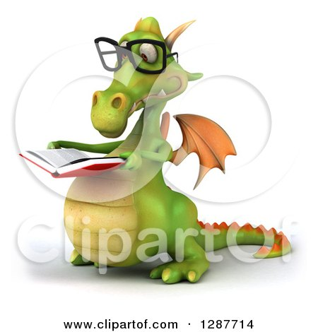 Clipart of a 3d Bespectacled Green Dragon Facing Slightly Left and Reading a Book - Royalty Free Illustration by Julos