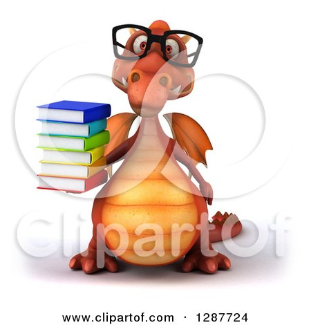 Clipart of a 3d Bespectacled Red Dragon Holding a Stack of Books - Royalty Free Illustration by Julos