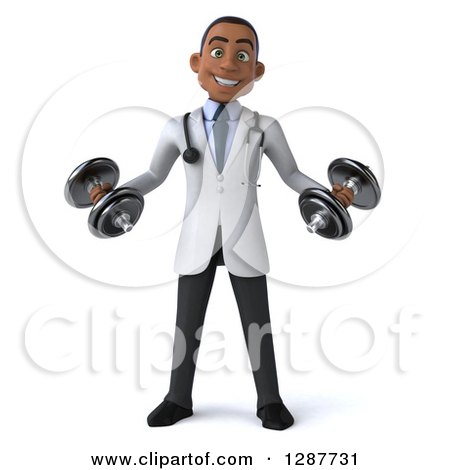 Clipart of a 3d Young Black Male Doctor Working out with Dumbbells - Royalty Free Illustration by Julos