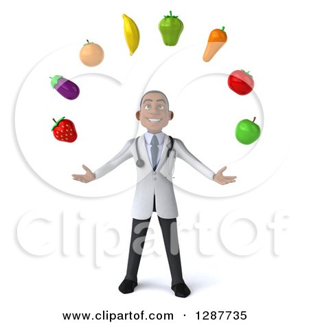 Clipart of a 3d Young Black Male Nutritionist Doctor Juggling Produce - Royalty Free Illustration by Julos
