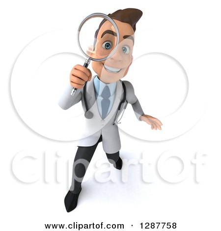 Clipart of a 3d Young Brunette White Male Doctor Looking up Through a Magnifying Glass - Royalty Free Illustration by Julos