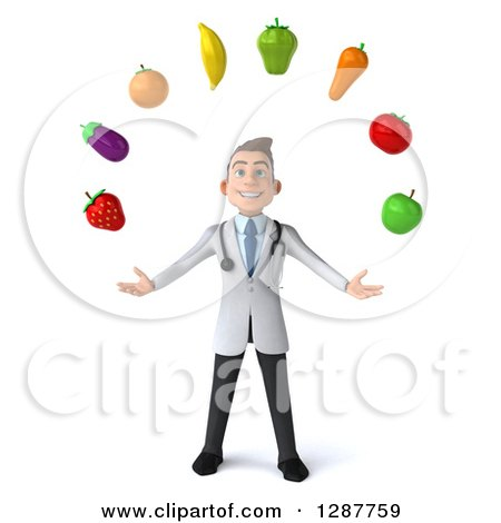 Clipart of a 3d Young Brunette White Male Nutritionist Doctor Juggling Produce - Royalty Free Illustration by Julos