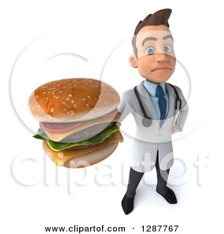 Clipart of a 3d Unhappy Young Brunette White Male Doctor Nutritionist Holding up a Double Cheeseburger - Royalty Free Illustration by Julos