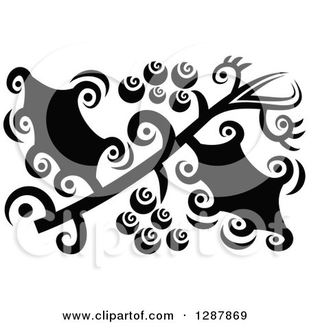 Clipart of a Black and White Abstract Christmas Holly Design - Royalty Free Vector Illustration by Prawny