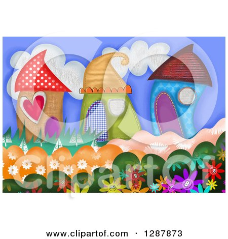 Clipart of Cute Houses Made of Patterns with Flowers - Royalty Free Illustration by Prawny