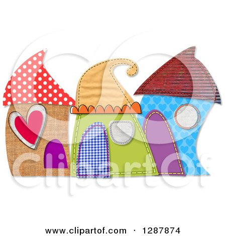 Clipart of Cute Houses Made of Patterns, Over White - Royalty Free Illustration by Prawny