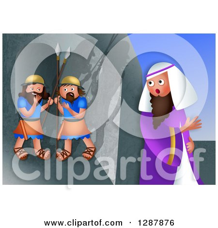 Clipart of a Jewish Feast of Purim Scene of Mordecai Overhearing the Plot to Assassinate the King - Royalty Free Illustration by Prawny