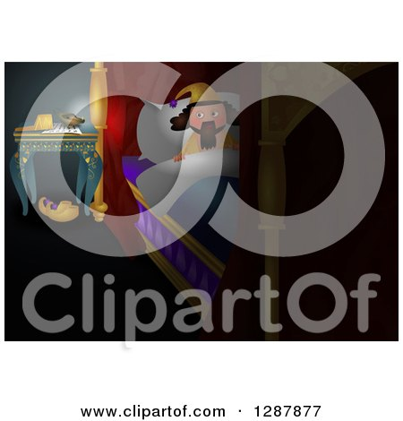 Clipart of a King Settling in to Bed - Royalty Free Illustration by Prawny