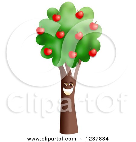 Clipart of a Happy Smiling Apple Tree - Royalty Free Illustration by Prawny
