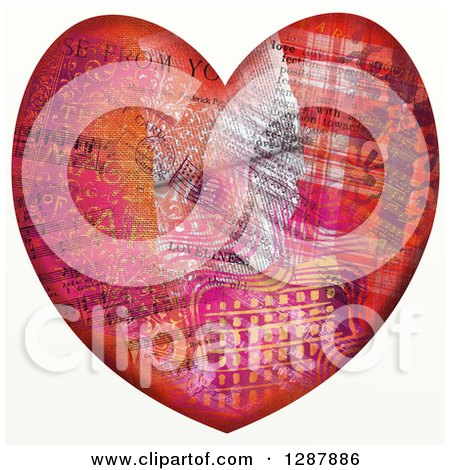 Clipart of a Pattern Collaged Heart with Music Notes - Royalty Free Illustration by Prawny