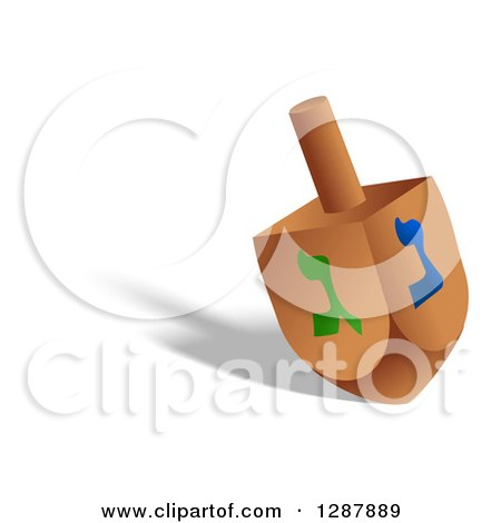 Clipart of a Driedel Toy and Shadow on White - Royalty Free Illustration by Prawny