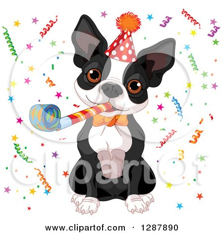 Clipart of a Cute Boston Terrier Wearing a Party Hat, Blowing a Noise Maker and Celebrating in Confetti - Royalty Free Vector Animal Illustration by Pushkin