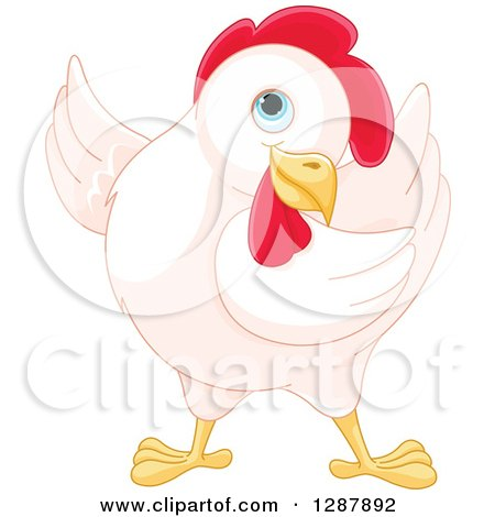 Clipart of a Cute White Hen Presenting to the Left - Royalty Free Vector Animal Illustration by Pushkin