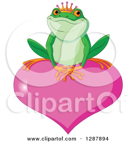 Clipart of a Cute Frog Prince Resting on a Pink Valentine Love Heart - Royalty Free Vector Animal Illustration by Pushkin