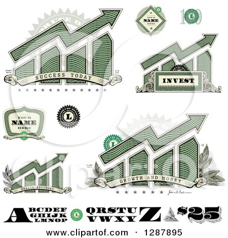 Clipart of American Dollar Themed Bar Graphs, Labels Numbers and Letters - Royalty Free Vector Illustration by BestVector